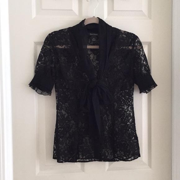 White House Black Market Tops - NWOT WHBM Black Lace Top (Size 0)